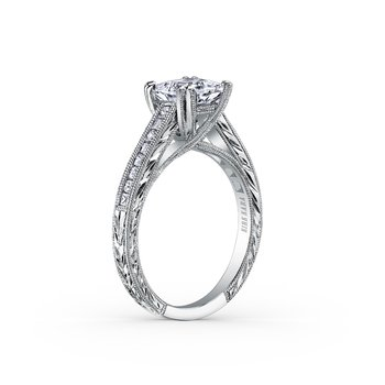 Milgrain Princess Diamond Engagement Ring