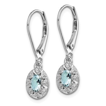 Sterling Silver Rhodium-plated Diam. & Aquamarine Earrings