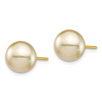 14K 9-10mm Golden Round Saltwater Cultured South Sea Pearl Post Earrings