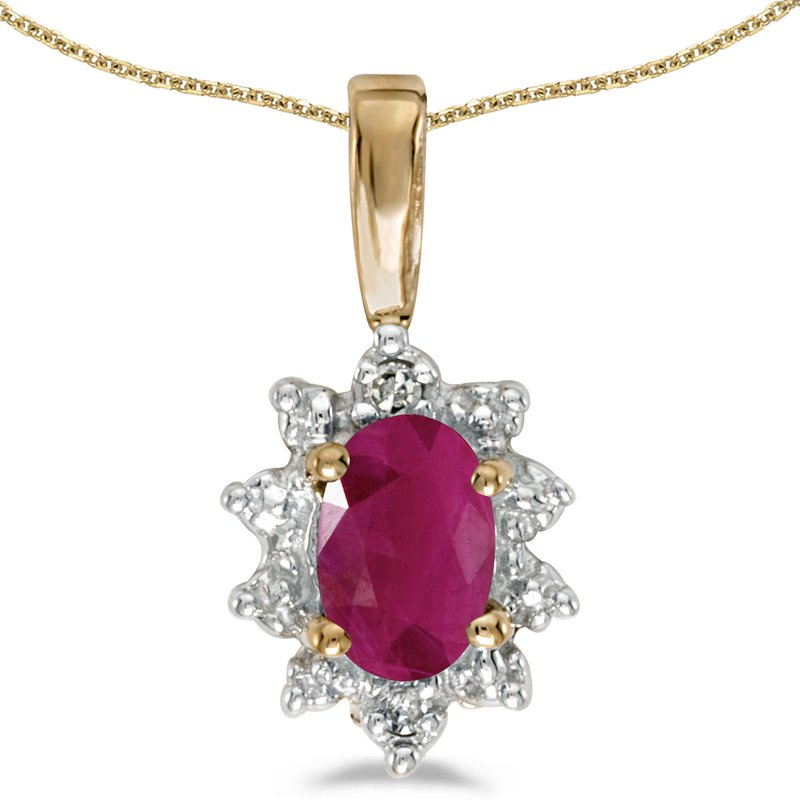 Color Merchants 10k Yellow Gold Oval Ruby And Diamond Pendant