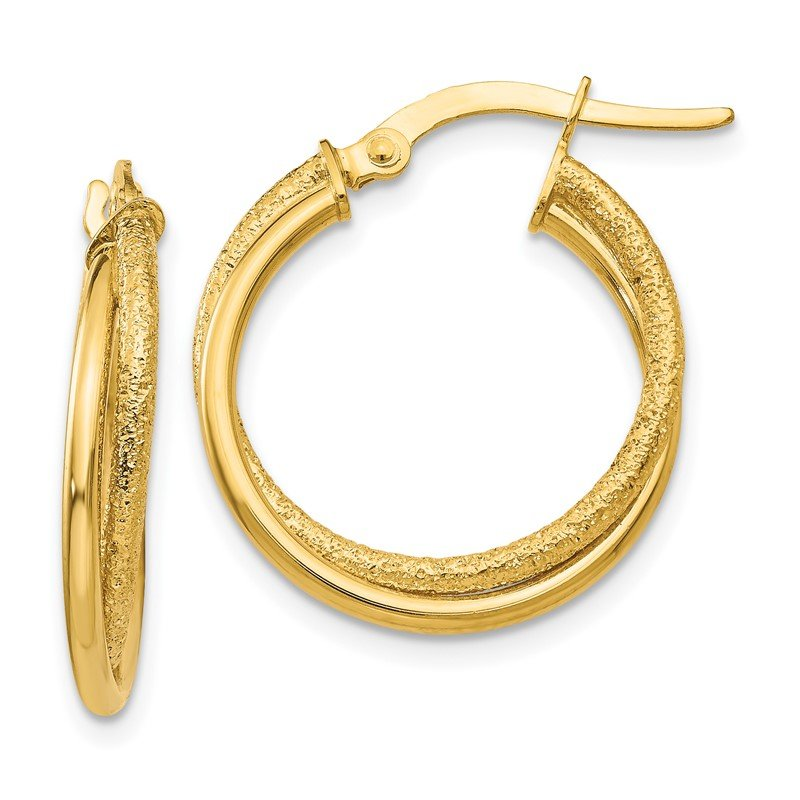 Quality Gold 14K Polished and Laser Cut Hoop Earrings