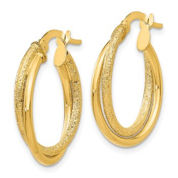 14K Polished and Laser Cut Hoop Earrings