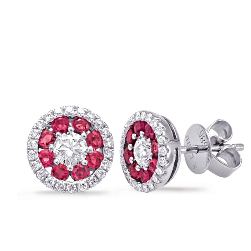 S. Kashi  & Sons White Gold Ruby & Diamond Earring