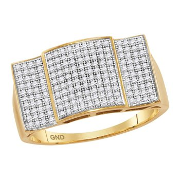 10kt Yellow Gold Mens Round Pave-set Diamond Rectangle Convex Cluster Ring 1/2 Cttw