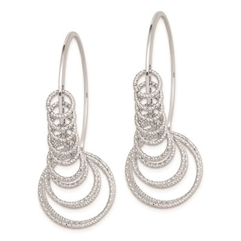 Sterling Silver Rhodium Plated D/C Circles Dangle Hoop Earrings