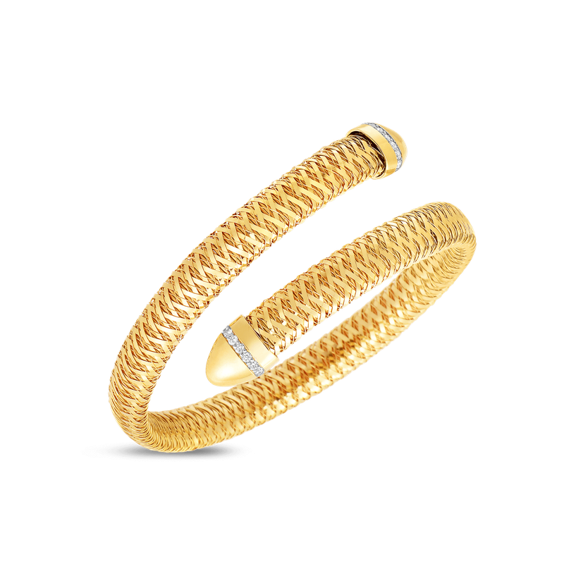 Roberto Coin Flexible Snake Cuff With Diamonds &Ndash; 18K Yellow Gold