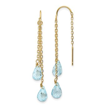 14k Double Blue Topaz Pear Shape Threader Earrings