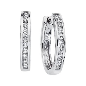14k White Gold Oval Secure Lock Hoops (.44 CT)