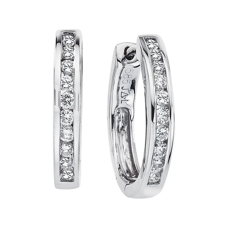 Color Merchants 14k White Gold Oval Secure Lock Hoops (.44 CT)