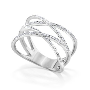 14K Diamond Double X Ring