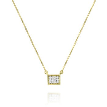 14K Pave Diamond Rectangle Necklace
