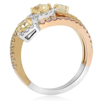 Mixed Metal Abstract Diamond Ring