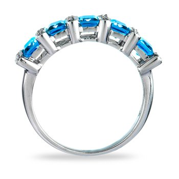 14K WG Diamond & Topaz Ring