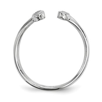 Sterling Silver Rhodium-plated CZ Adjustable Ring
