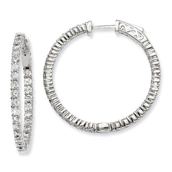 Sterling Silver CZ 60 Stones In and Out Round Hoop Earrings
