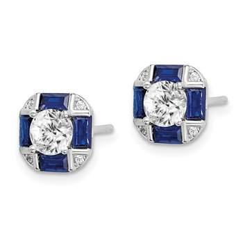 Sterling Silver Rhodium-plated CZ/Lab Created Blue Spinel Earrings