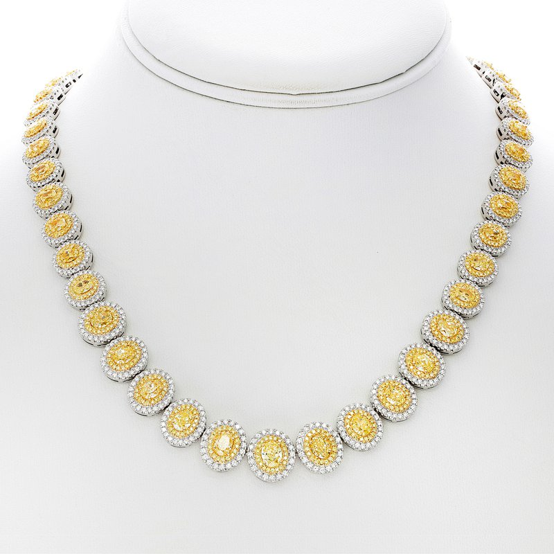 Roman & Jules Two Tone Diamond Double Halo Necklace