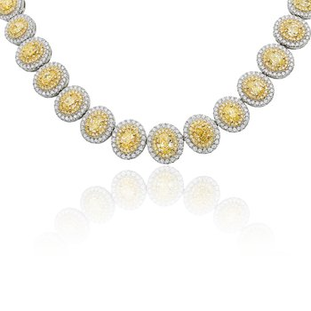 Two Tone Diamond Double Halo Necklace