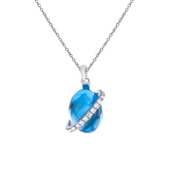 14K White Gold Cabochon Blue Topaz and Diamond Pendant