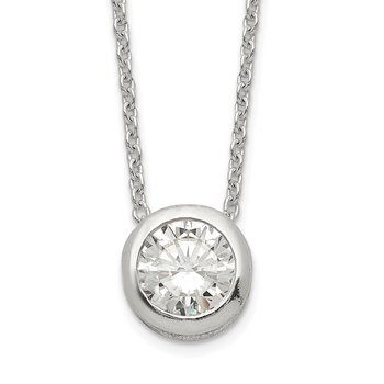 Sterling Silver Polished 9mm Bezel CZ Necklace