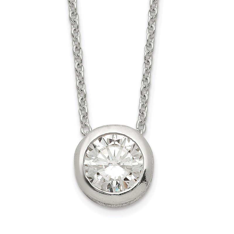 Quality Gold Sterling Silver Polished 9mm Bezel CZ Necklace