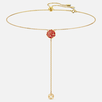 Full Blessing Fu Y Necklace, Red, Gold-tone plated