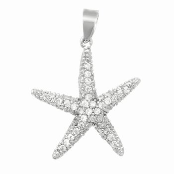 Silver Medium CZ Starfish Pendant