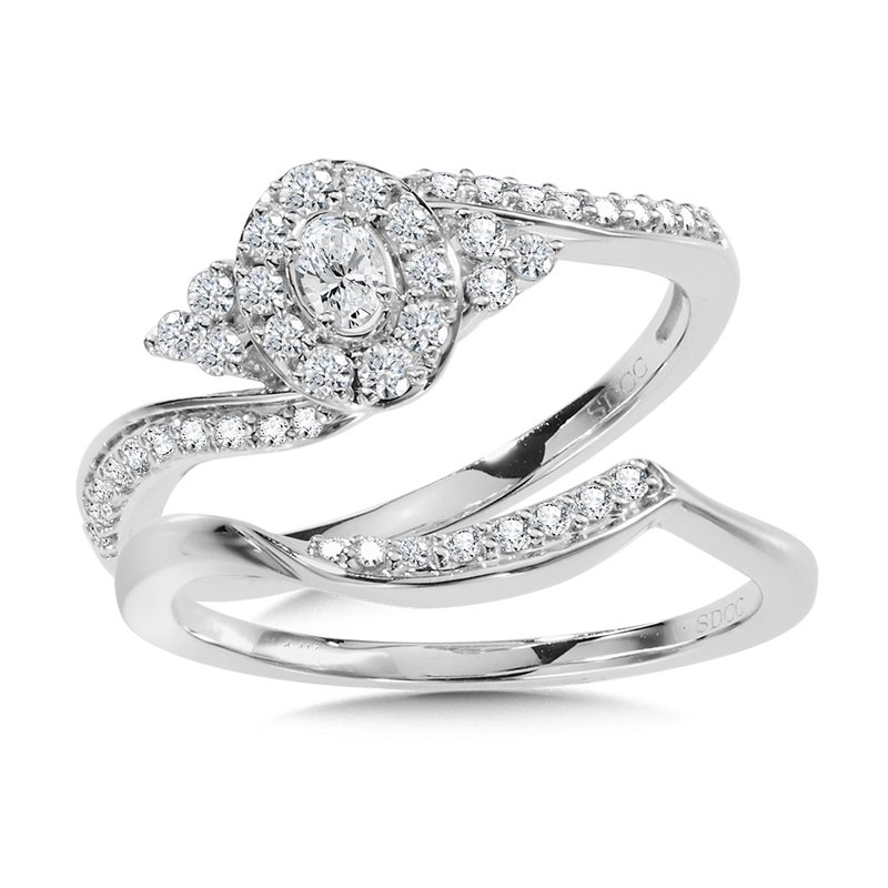 SDC Creations Oval Halo Diamond Bypass Engagement Ring and Wedding Band Bridal Set