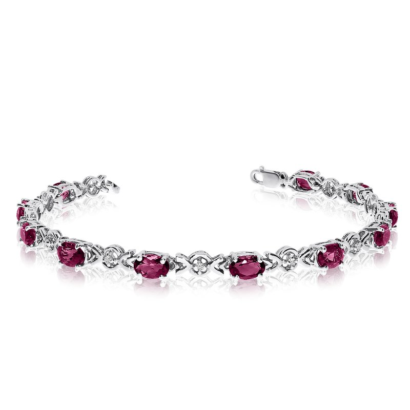 Color Merchants 14K White Gold Oval Ruby and Diamond Bracelet