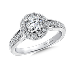 Valina Bridals Round halo mounting  .34 ct. tw.,  5/8 ct. round center.