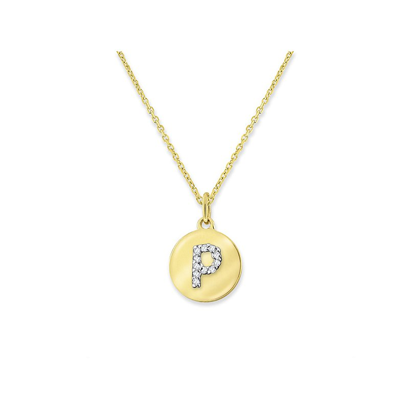 "KC Designs Diamond Mini Disc Initial ""P"" Necklace in 14k Yellow Gold with 11 Diamonds weighing .04ct tw."