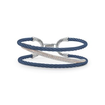 Blueberry Cable Tranverse Bracelet with 18kt Rose Gold & Diamonds