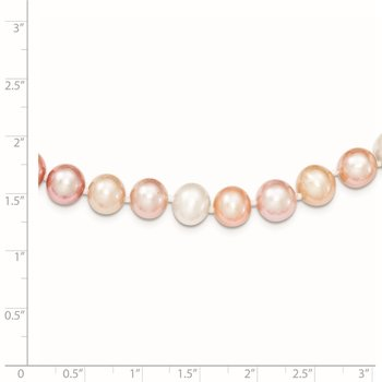 Sterling Silver Rhodium-plated 8-9mm Multi-color FWC Pearl Necklace
