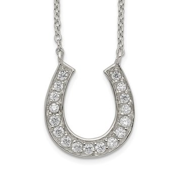 Sterling Silver Horseshoe 16in w/2in ext CZ Necklace