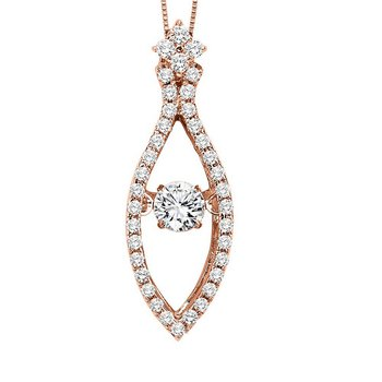 14KP Diamond Rhythm Of Love Pendant 1/2 ctw