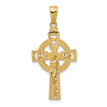 14k Polished Celtic Crucifix Pendant