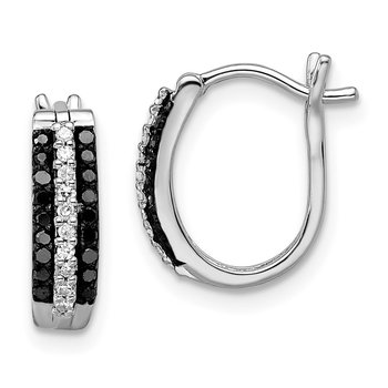 Sterling Silver Rhod Plated Black & White Diamond Earrings
