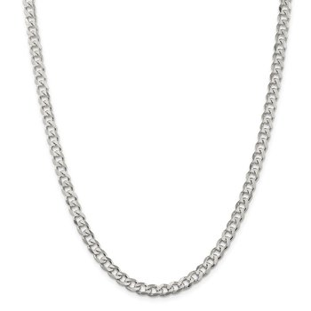 Sterling Silver Rhodium-plated 6mm Curb Chain