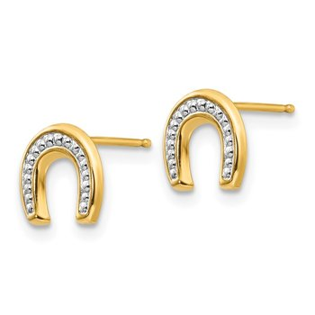 14k Madi K Polished & Rhodium Horseshoe Post Earrings