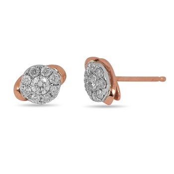 14K Rose and White Gold Diamond Cluster Earring