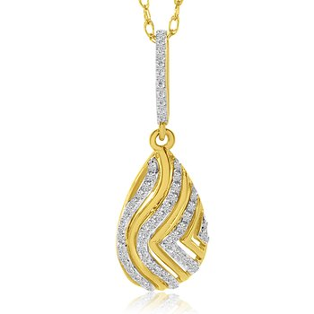 14k Yellow Gold Teardrop Diamond Wave Pendant