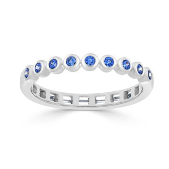 14 KT White gold Matching Round / Sapphire band  (0.28 CTW)