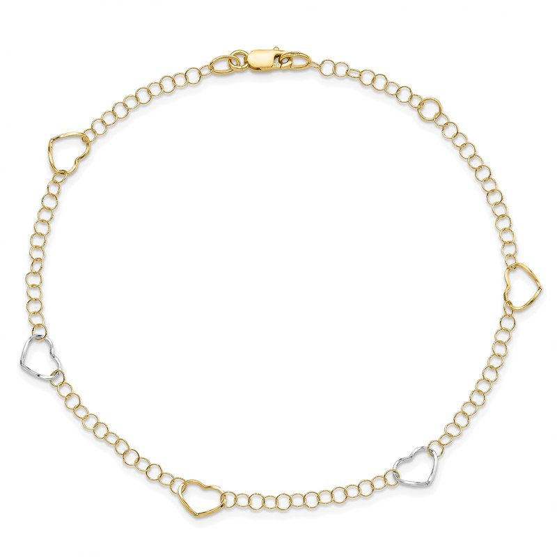 Leslie's Leslie's 14K Two-tone Polished Heart with 1in ext. Anklet
