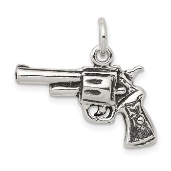 Sterling Silver Antiqued Pistol Charm