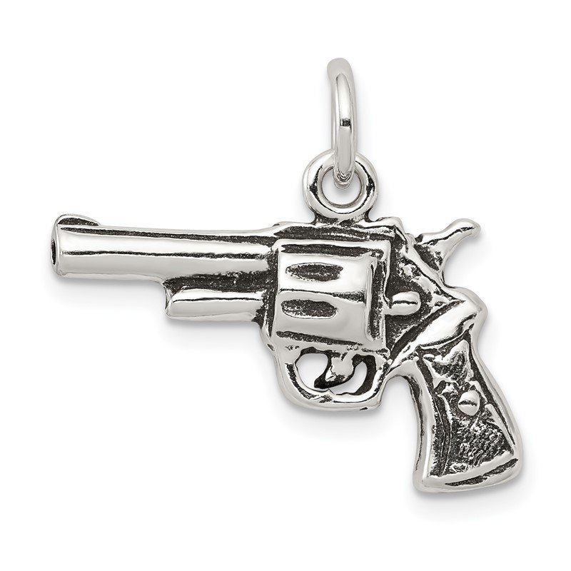 J.F. Kruse Signature Collection Sterling Silver Antiqued Pistol Charm
