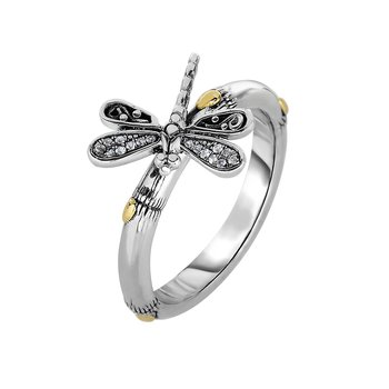 Silver & 18K Sapphire Dragonfly Ring
