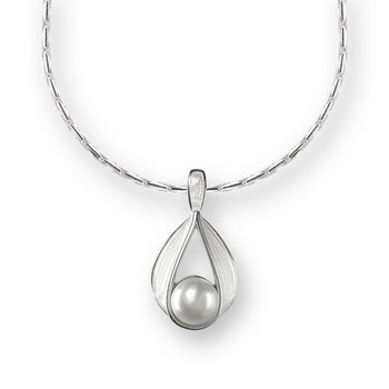 White Teardrop Necklace.Sterling Silver-Freashwater Pearl