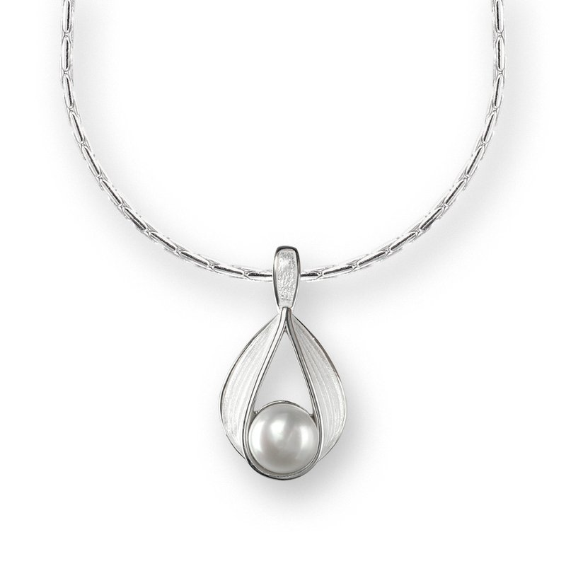 Nicole Barr Designs White Teardrop Necklace.Sterling Silver-Freashwater Pearl