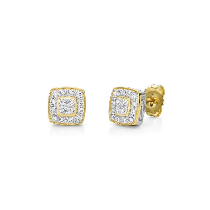 ALOR Yellow Gold Square Stud Earrings with Diamonds