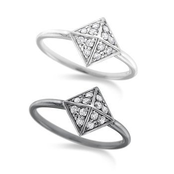 Diamond Pyramid Ring in 14K White Gold with 12 Diamonds Weighing .15ct tw